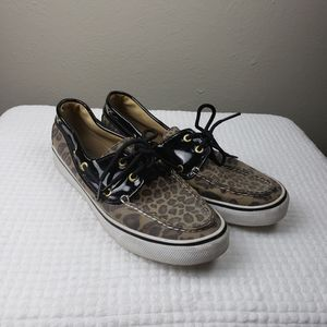 Sperry Top-Sider Leopard Print Boat Shoe Size 8M